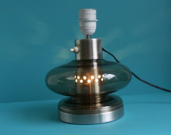 Table Lamp Mid Century Modern Smoked Glass Light 50s 60s