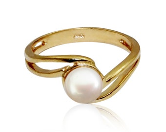 Pearl Ring  GOLD Filled ring  gold rings for women promise birthstone ring