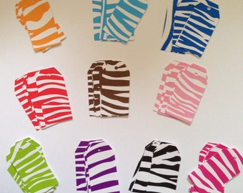 Set of 60 zebra striped small tags