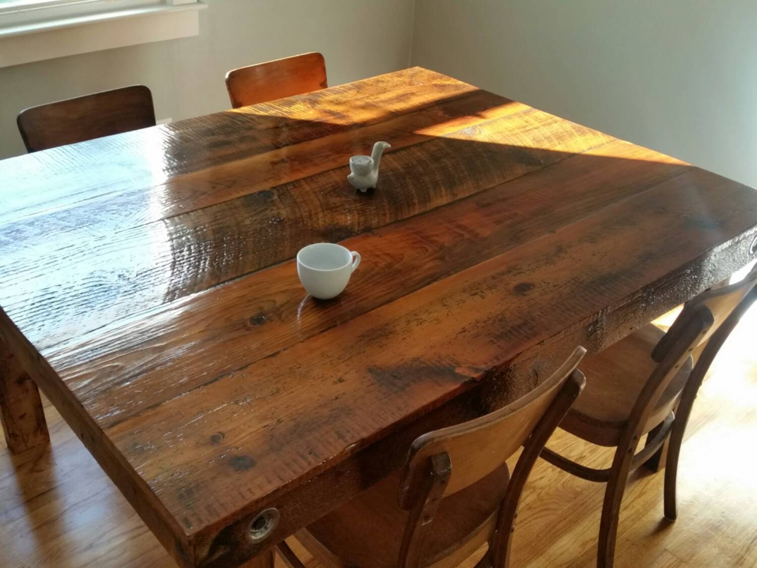 Farmhouse dining table reclaimed barnwood by backburnerdesigns - Barnwood dining room table ...