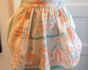 Apron made from a vintage tablecloth