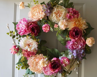 Hydrangea Wreath Cream Red Burgundy Rose Peony Chrysanthemum Blooms Spring Summer Fall Decor