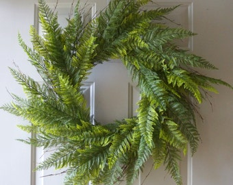 Spring Wreaths, Summer Wreaths, Fern Wreath  for Year Round, Green wreath,30 inches Large Wreath ready to ship