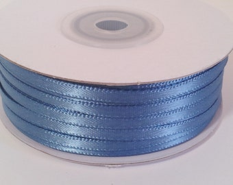"1/8"" and 1/16"" Antique Blue Double Face Satin Ribbon - 100 Yards"