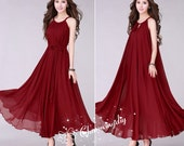 Chiffon Wine Red Long Party Dress Evening Wedding Lightweight Maternity Sundress Summer Holiday Beach Dress Bridesmaid Dress Maxi Skirt