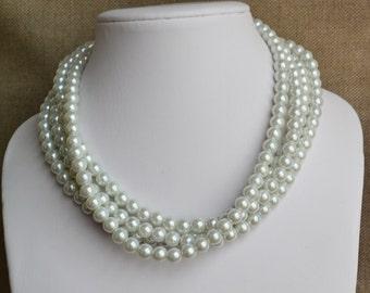 wedding  pearl necklace,4-rows pearl necklaces,wedding necklace,bridesmaids necklace, glass pearls necklaces, white pearl necklace,necklace