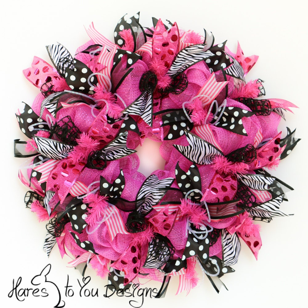 Deco Mesh Wreath Pink Door Wreath Summer Wreath Zebra