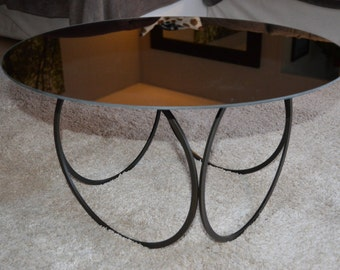 coffee table design round mirror and metal by Custom Metal Creation