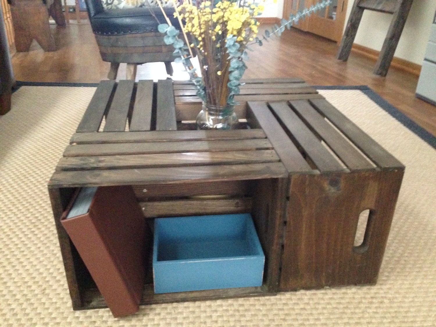 Belle wood wine crate coffee table rustic by sugarriverrestore - Table basse avec caisse en bois ...