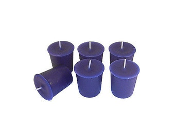 12 Dark Blue Classic Hand-poured Unscented Votive Candles