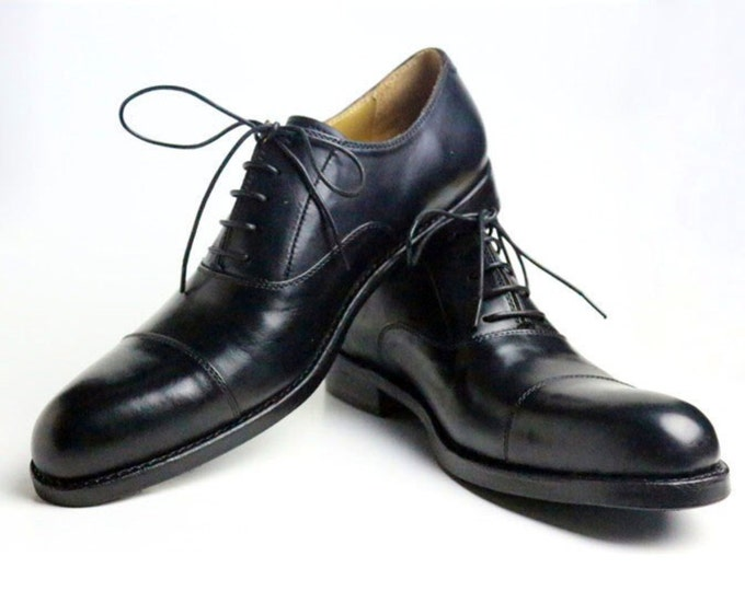 Handmade Goodyear Welted Classic Oxford Men's Dress Shoes,Plain Captoe Extended Edition