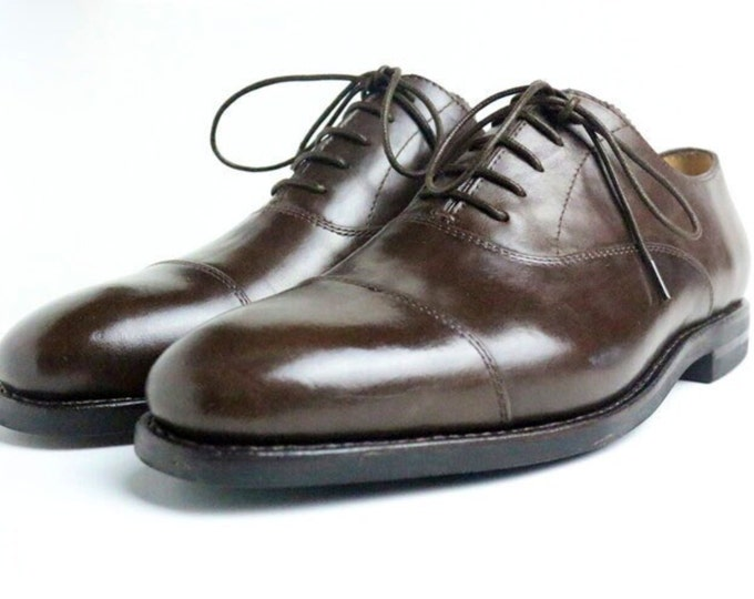 Handmade Goodyear Welted Men's Dress Shoes,Plain Captoe Pattern