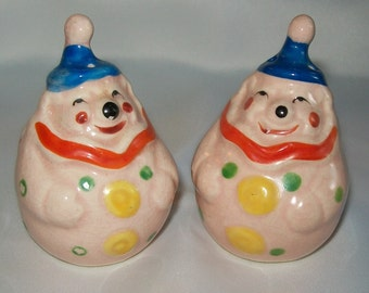 Salt and Pepper Shakers - Vintage Rolly Polly Clown