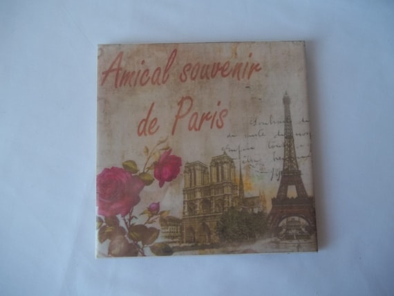 Ceramic Tile Paris Theme Kitchen Trivet Coaster Spoon Rest