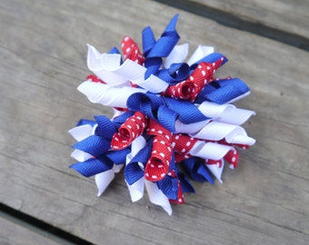 4th of July korker bow, red white and blue korker bow, firework bow
