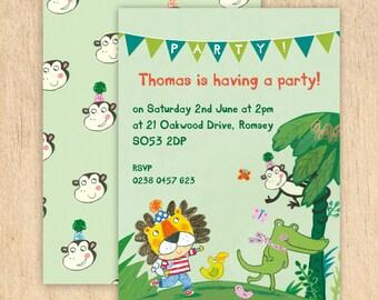 Personalised Jungle Party Invitations -- Minimum order 8