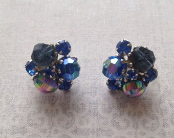 Vintage Vogue Aurora Borealis bead cluster clip earrings