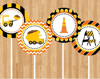 Construction Truck Party Cupcake Toppers - INSTANT DOWNLOAD - DIY Digital Printable File
