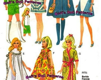 "Teen Fashion Wardrobe Pattern for Barbie and other 11 1/2"" Dolls"