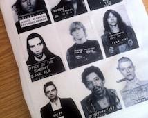 Rockstar Mugshot Print Tshirt Kurt Cobain Axl Rose Jim