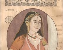 Vintage and collectible miniature painting : Rani  on 100 Yrs Old paper stamp paper