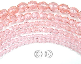 10mm (41pcs) Light Rose, Czech Fire Polished Round Faceted Glass Beads, 16 inch strand