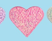 Self Adhesive Patch Pink White Lilac Lavender Purple Iridescent Heart Valentine's Day Sticker Iron On Motif Applique CF-SparklyHeart