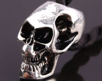20pcs Antique Silver tone European Charm Skull Metal Big Hole Beads For Bracelet or Chain Jewelry Findings