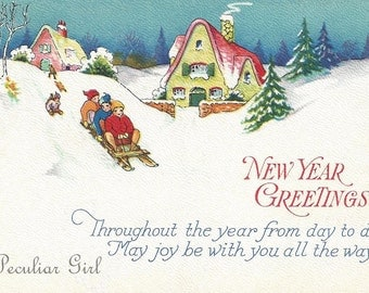 Vintage New Year Postcard, Vintage Postcard, Small Children Sledding, Snow Covered Hill, Postcard Image, New Year Image, INSTANT Download