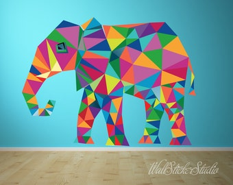 Elephant Wall Decal. REUSABLE FABRIC Wall Decals, Pattern Wall Decal, Peel and Stick Wall Decals, Eco-friendly