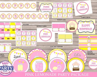 Pink Lemonade party package, instant download, sale, pink lemonade party printables, pink and yellow, cupcake toppers, water bottle wrappers