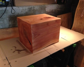 Popular items for block end table on etsy for Solid wood cube side table