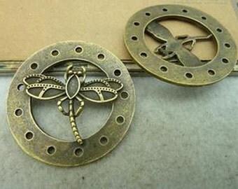 4pcs 44mm Antique Bronze Lovely Huge Heavy Dragonfly Charm Pendant c3050-51
