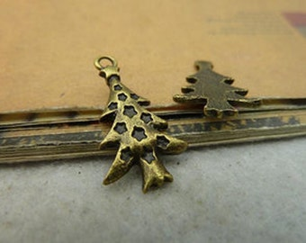 45pcs 14x25mm  Antique Bronze Lovely Christmas tree Charms Pendant c3994-6
