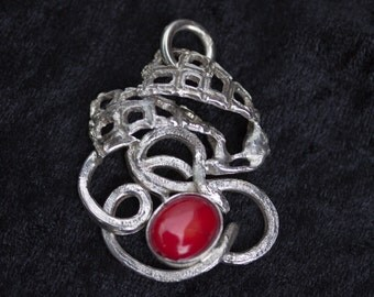 """Silver Pendant with Bamboo Coral - """"Love Thoughts"""""""