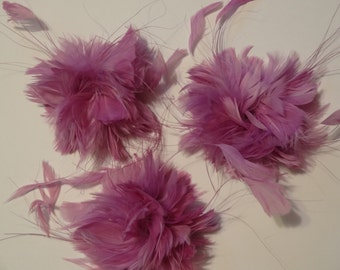 Lavendar Purple Feather Flowers for Girls Hair clips or Headbands