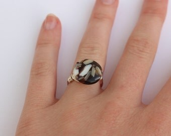 Brown Glass Mosaic Ring