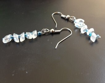 Water Drops Blue and White Glass Bead Earrings