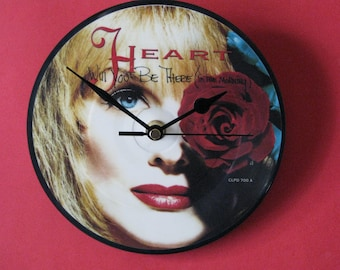 "Heart will you be there 7"" picture disc record clock"