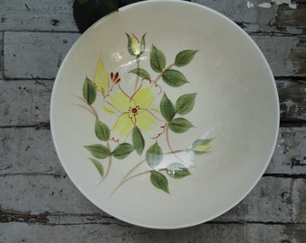 """Serving Bowl - Mid Century - Kanedai Japan - Hand Painted """"Pixie Gold"""" Pattern"""