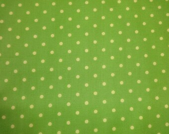 David Textiles Lime Green Fabric w/Yellow Polka Dots 373