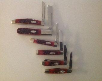 Set of 6 case red bone pocket knives
