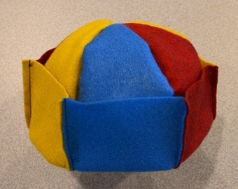 Whoopee Caps, Button Beanies, Jughead Crowns - Yellow(Mustard)/Blue/Red - Large (Adult)