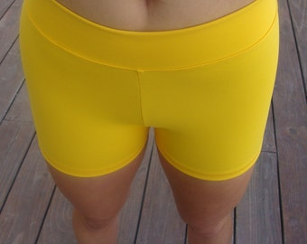 Women / Teen Yellow High Waist Compression Spandex Workout Shorts