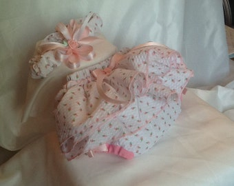 Girls pink and white diaper cover and matching headband