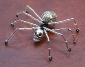 Halloween Silver Skull and Bead Spider