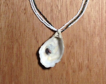 Oyster Shell On Bead Necklace