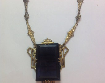 Vintage 1950's Czechoslovakian Necklace with Large Black Glass Stone