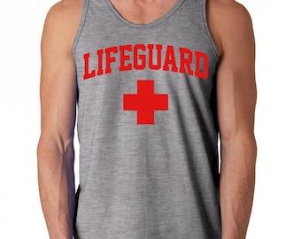 LifeGuard Sleeveless Tank Top swimming pool safety patrol water park staff Shirts S-2XL