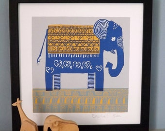 Blue and Yellow Elephant Screen Print